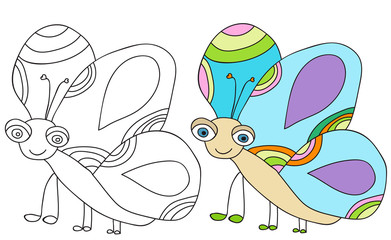 vector, butterfly character, book coloring pages