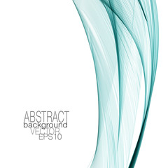 Art template with bright green flowing veil imitation. Abstract design. Vector modern shiny lines background. Waving curved lines. Layout for brochure, book, cover, poster, leaflet, flyer, web. EPS10