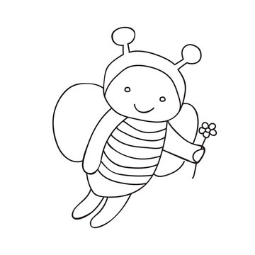 bee character, book coloring