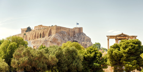 Panoramic view of the Acropolis hill, Athens, Greece