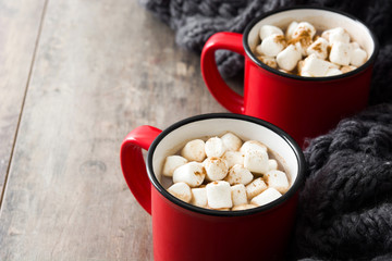 Christmas cocoa with marshmallow in mug on wooden table. Copyspace