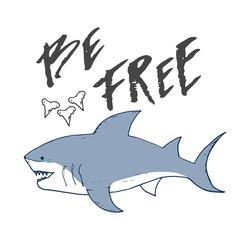Cute Shark hand drawn sketch, T-shirt print design vector illustration