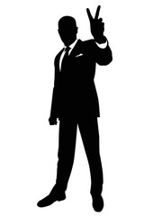 Silhouette of a man showing a gesture of victory