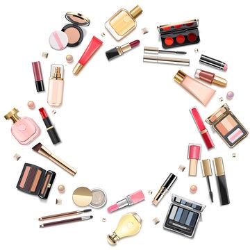 Vector Round Makeup Cosmetics Concept