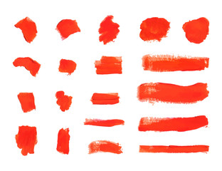 Vector Brush Strokes, Textured Red Paint Smears, Design Elements Set.