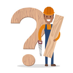 Male carpenter holding a wooden board