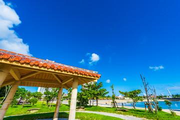 サンセットビーチの休憩所 Rest station in Okinawa