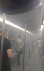 Smoke fills the train after a laptop explosion on Madrid Metro, near Principe De Vergara metro station in Madrid