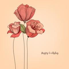 Fototapete - Floral background, pink flowers bouquet