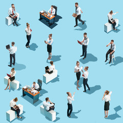 Conceptual image of business processes with businessman and businesswoman. Flat isometric view. Business, recruitment, human resources, communication, internet, teamwork and network concept. Miniature