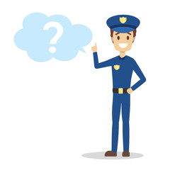 Male policeman standing at the question mark