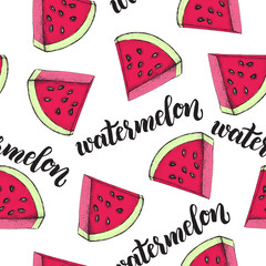 Decorative seamless pattern with triangular slices of watermelon. Ink hand drawn Vector illustration. Texture with brush calligraphy style lettering.