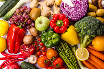 Top view of colorful fresh vegetables and fruits, ideal for a balanced diet