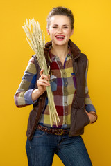 woman grower isolated on yellow background with wheat spikelets