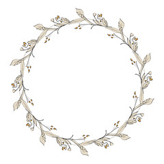 Floral Wreath With Berries. Hand Sketched illustration.