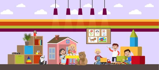 Children in kindergarten play with different toys