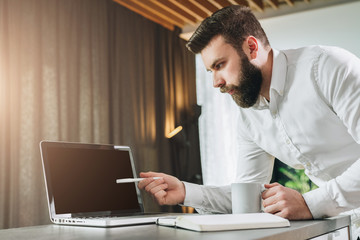 Bearded businessman shows pen on laptop screen.Young entrepreneur presents business plan,shows information,compares data
