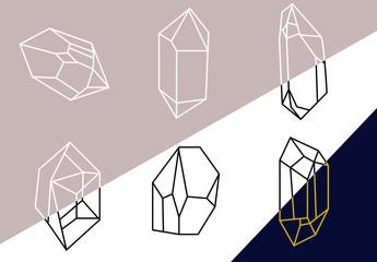 Ensemble d'illustrations géométriques Cristaux futuristes