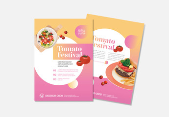 Food Flyer Layout with Pink Accents