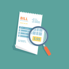 Bill icon with magnifying glass. Studying paying receipt. Payment of goods,service, utility, bank, restaurant. Invoice, check, bill sign. Paper financial symbol in flat style. Vector isolated.