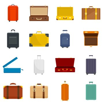 Suitcase travel luggage bag briefcase icons set. Flat illustration of 16 Suitcase travel luggage bag briefcase vector icons for web