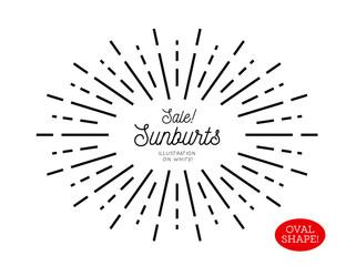 Sunburst design element. Oval shape. Vector illustration on white background