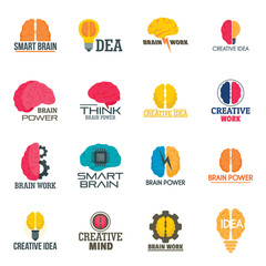 Mind brain icon set. Flat set of mind brain vector icons for web design
