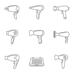 Hair dryer icon set. Outline set of hair dryer vector icons for web design isolated on white background