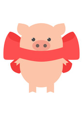 Pig with a red bow. Sweet pig. Cartoon, vector