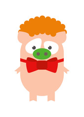 Pig in clown costume. Funny piggy clown. Cartoon, vector