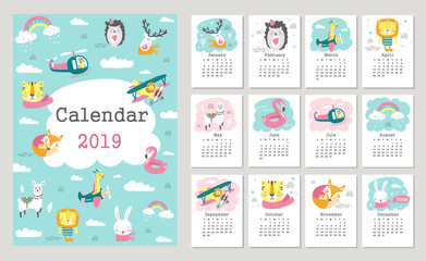Calendar 2019 with cute forest animals. Hand drawn vector illustration