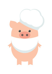 Pig cook. A funny guinea pig chef. Gilt in an apron and a chef's hat. Cartoon, vector