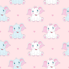 Seamless pattern with cute elephants. Baby print. Vector illustration
