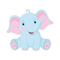 Cute baby elephant on white background. Vector Illustration