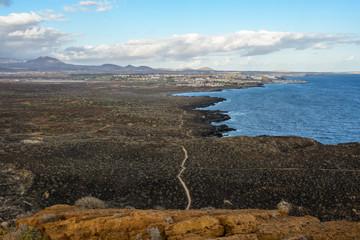 The Yellow Mountain on the ocean shore in Costa del Silencio, Tenerife.