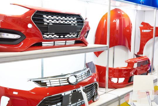 Spare parts for car body in shop
