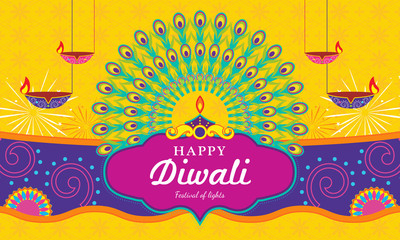 Happy Diwali (Festival of light) background Vector illustration, Beautiful elements with Diwali diya (oil lamp).