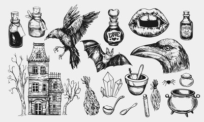 Halloween set with hanted house, raven, potion, bat, vampire mouth. Hand drawn illustration converted to vector