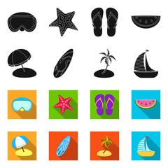 Vector illustration of equipment and swimming symbol. Collection of equipment and activity stock vector illustration.