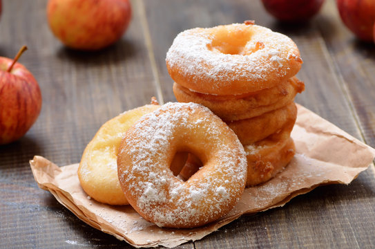 Homemade donuts with apples
