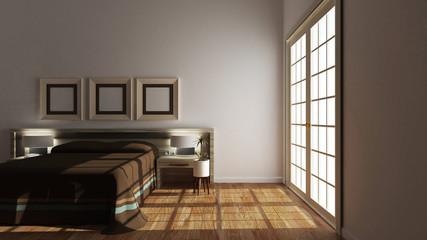 Empty room - modern bed room interior. 3D rendering