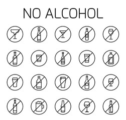 No alcohol related vector icon set.
