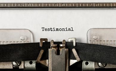 Text Testimonial typed on retro typewriter