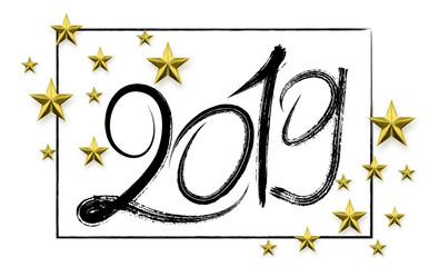Grunge number 2019 hand drawn lettering. Vector illustration