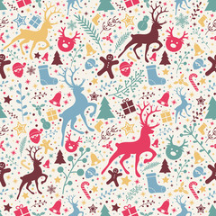 Christmas background with ornaments and floral concept - seamless texture. Vector.