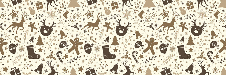 Design of Christmas decoration - seamless pattern. Vector.