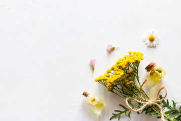 Natural cosmetics with herbal ingredients on a white background with place for text