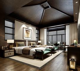 3d render of hotel room