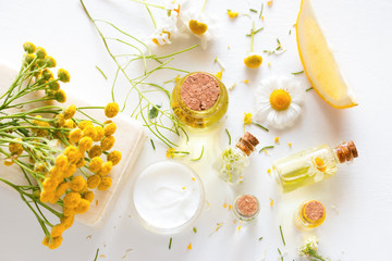 herbal cosmetics with wild flowers on a white background