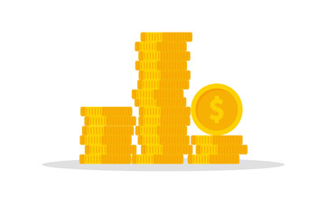Stack of coins. Money. Isolated. Vector